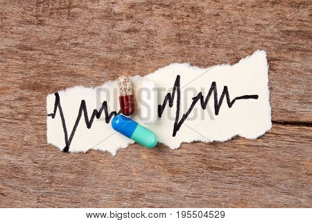Pills, heartbeat image, wooden table. Concept of heart illness and medical treatment.