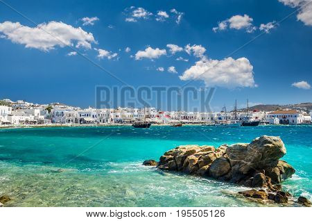 MYKONOS, GREECE- JULY 4, 2017: Beautiful view of the old port with white houses and boats. Mykonos town,  Cyclades Islands, Greece