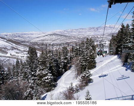 this is an image taken from a ski lift while on vacation in Utah