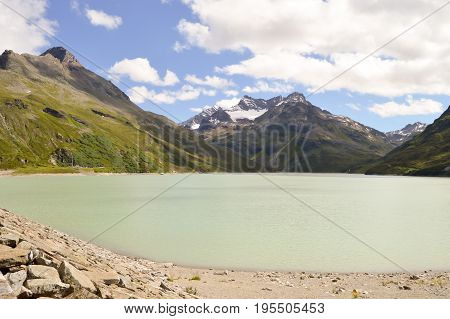 The Silvretta massif with its lake in the Central Eastern Alps in Austria