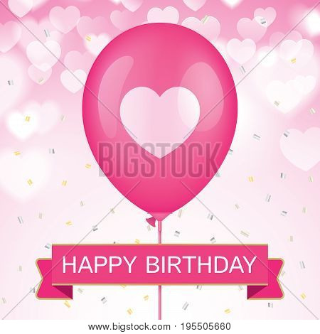 Birthday greeting card vector design. Pink ballon with ribbon and colorfull confetti on a blue bokeh background.