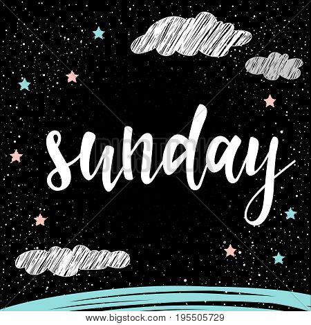 Sunday. Handwritten Lettering For Card, Invitation, T-shirt