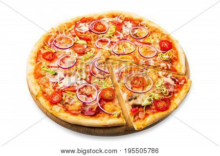 Delicious pizza isolated on white background, with onions, bacon and cherry tomatoes, thin pastry crust, closeup