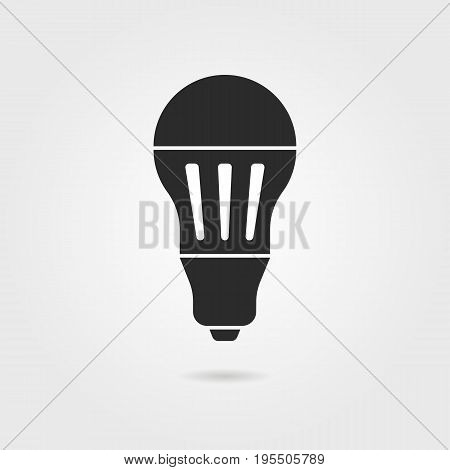 black led bulb icon with shadow. concept of halogen, invention, luminosity, illuminate, energy conservation. isolated on gray background. flat style trend modern logo design vector illustration