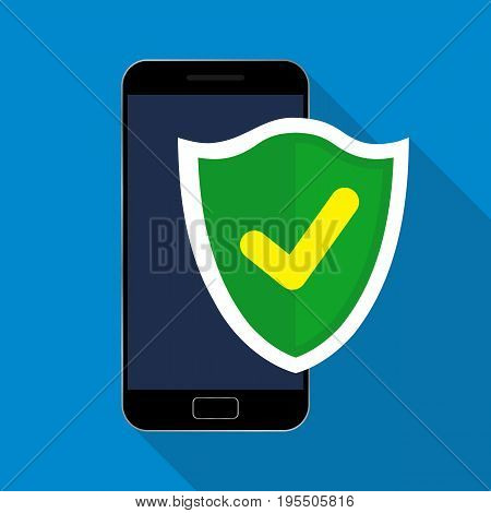 Mobile security app on smartphone. Vector illustration. Flat design.