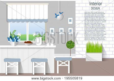 The interior dining room. Kitchen in modern design. Cartoon. Flat style. Vector illustration.