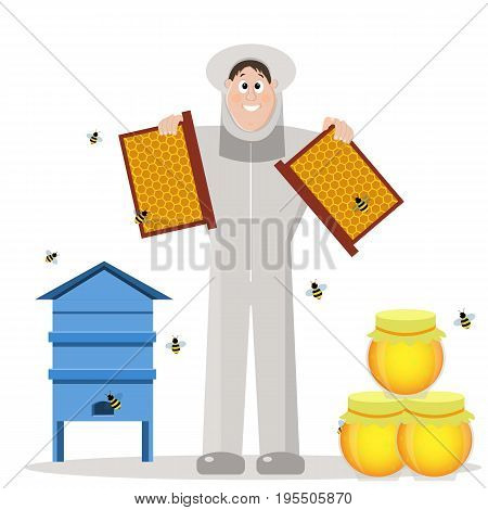 The beekeeper in the apiary. Man in protective suit isolated on a white background. Cartoon. Vector illustration
