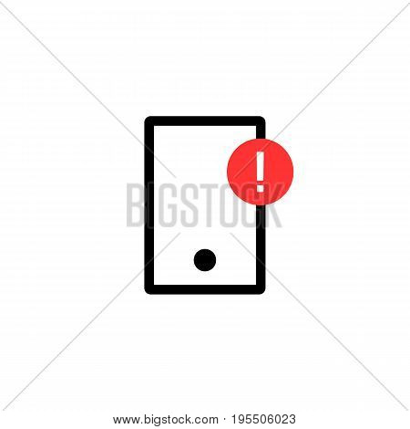 simple phone with alert notification. concept of messaging, chat, gadget, social network, fail, fix defect. isolated on white background. flat style trend modern logotype design vector illustration
