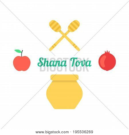 shana tova card with traditional objects. concept of shanah tovah, israel culture, decoration, annual feast. isolated on white background. flat style trend modern logo design vector illustration