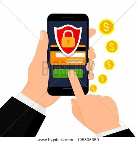 Secure mobile transaction. Mobile security. Security payment, payment protection concepts. Vector illustration.