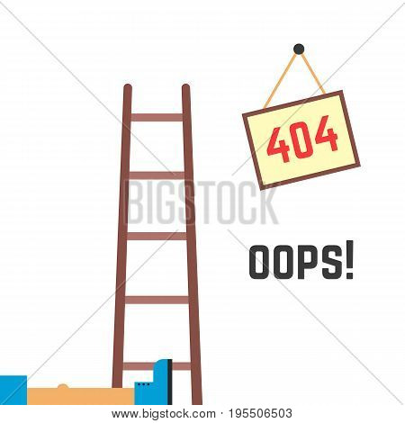 error 404 funny image. concept of technical fault, danger notice, under construction page, http response code. isolated on white background. flat style trend modern logo design vector illustration