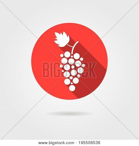 grape icon in red circle with long shadow. concept of grapevine, grape juice, winery, restaurant beverage. isolated on gray background. flat style trend modern logotype design vector illustration
