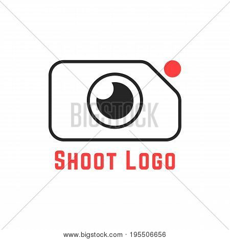 thin line simple shoot logo. concept of cameraman, camera icon, action camera, studio, recorder, rec cam. isolated on white background. flat style trend modern brand design vector illustration