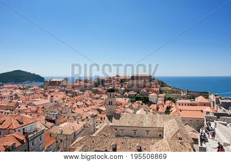 DUBROVNIK, CROATIA - AUG 3, 2016: tourists in the Old town of Dubrovnik, Croatia. Dubrovnik is a UNESCO World Heritage site