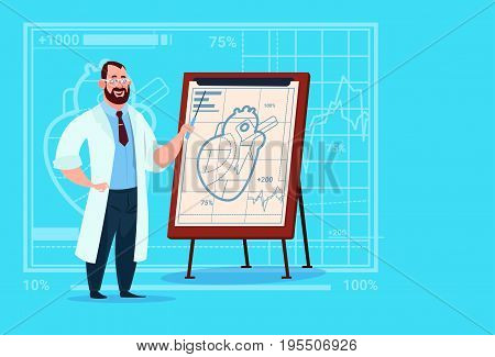 Doctor Cardiologist Over Flip Chart With Heart Medical Clinics Worker Hospital Flat Vector Illustration