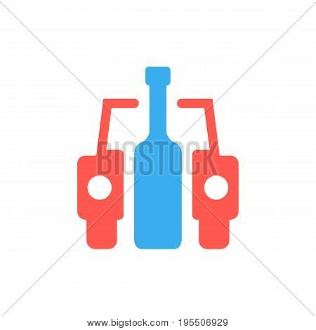car and bottle like drunk driver sign. concept of placard, drinker, bad habit, human problems, inebriate. isolated on white background. flat style trend modern logotype design vector illustration