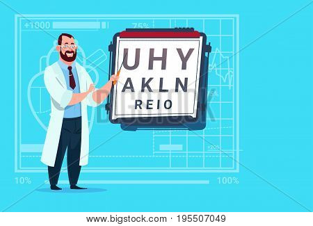 Doctor Ophthalmologist With Vision Test Medical Oculist Clinics Worker Hospital Flat Vector Illustration