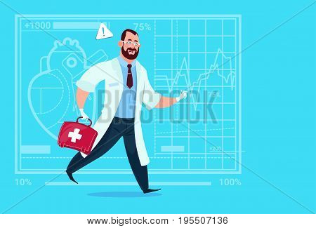 Emergency Doctor Run With Medicine Box First Aid Medical Clinics Worker Hospital Flat Vector Illustration