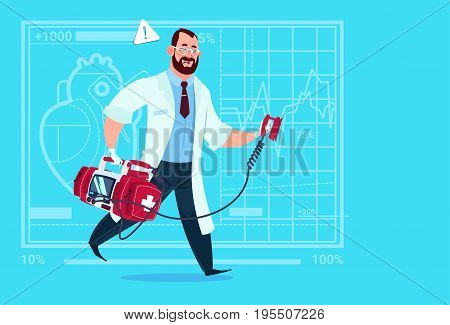 Doctor Running With Defibrillator Medical Clinics Worker Reanimation Hospital Flat Vector Illustration