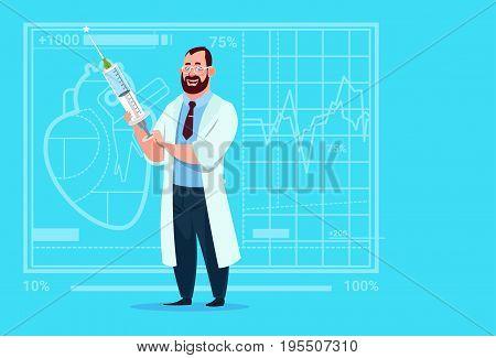 Doctor Holding Syringe Medical Clinics Worker Hospital Flat Vector Illustration