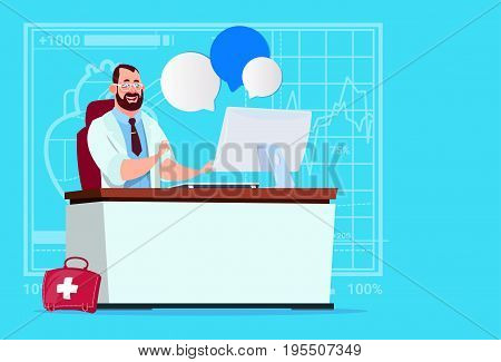 Doctor Sitting At Computer Online Consultation Medical Clinics Worker Hospital Flat Vector Illustration
