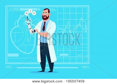 Doctor Working With Robotic Hand Artificial Limb Medical Clinics Worker Hospital Flat Vector Illustration