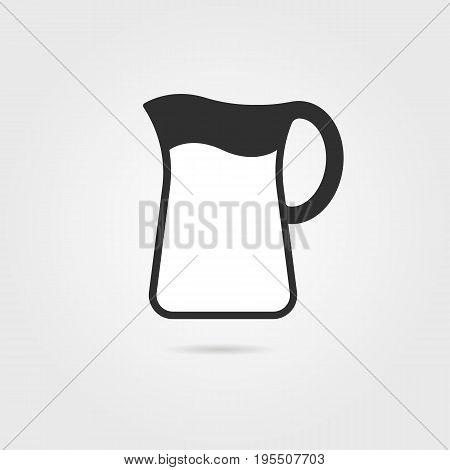 black pitcher with milk and shadow. concept of kitchenware, cooking utensils, earthenware, dishware, ewer. isolated on gray background. flat style trend modern logo design vector illustration