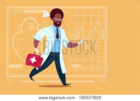 African American Emergency Doctor Run With Medicine Box First Aid Medical Clinics Worker Hospital Flat Vector Illustration