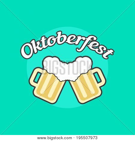 oktoberfest icon with toby jugs. concept of placard, bavaria, october fest, brewing, food celebration. isolated on green background. flat style trend modern logotype design vector illustration