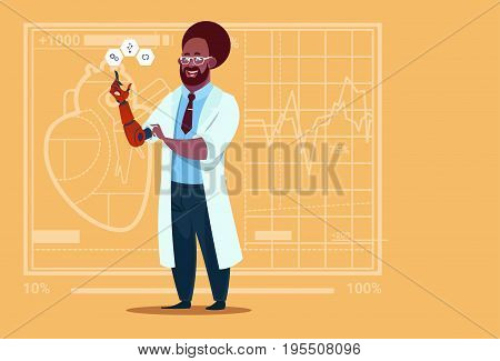 African American Doctor Working With Robotic Hand Artificial Limb Medical Clinics Worker Hospital Flat Vector Illustration