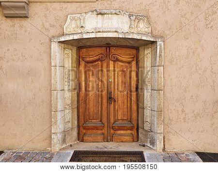 Old wooden door in the center of the old town in Riga Latvia