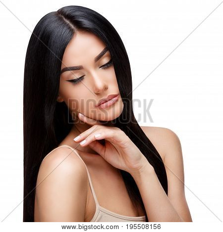 Beautiful Face of Young Woman with Clean healthy hair close up isolated on white. Beauty Portrait. Beautiful Spa Woman. Perfect Fresh Skin. Pure Beauty Model. Youth and Skin Care Concept