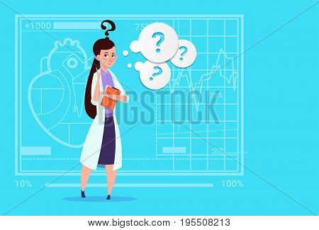 Female Doctor Confused Thinking Medical Clinics Worker Hospital Flat Vector Illustration