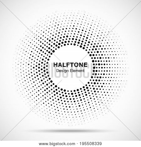 Black abstract vector circle frame halftone random dots logo emblem design element for technology, medical, treatment, cosmetic. Round border Icon using halftone circle dots raster texture.