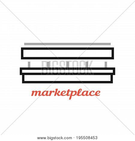 simple black marketplace sign. concept of dealer, rural fair, store mark, space for sale, market area. isolated on white background. flat style trend modern logotype design vector illustration