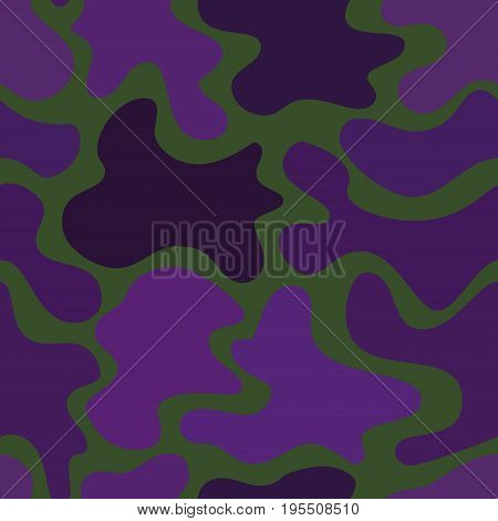 abstract vector chaotic spotted seamless pattern - violet on dark green background
