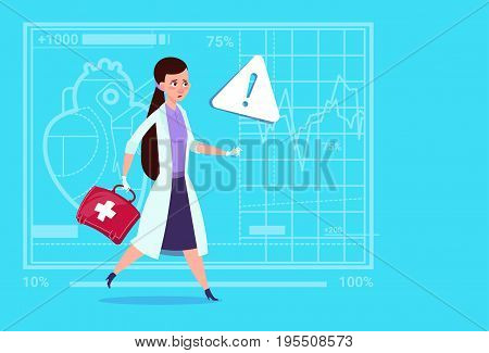 Emergency Female Doctor Run With Medicine Box First Aid Medical Clinics Worker Hospital Flat Vector Illustration