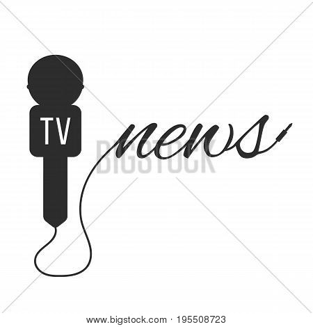 breaking news with black microphone. concept of global internet radio, newspaper, interviewing, speaking. isolated on white background. flat style trend modern logotype design vector illustration
