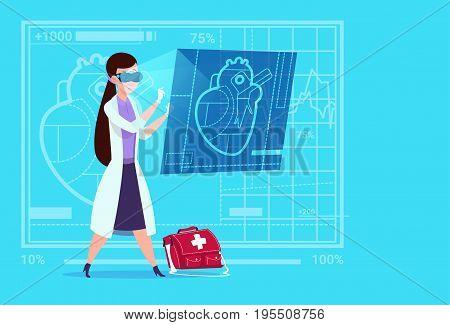 Female Doctor Cardiologist Examining Digital Heart Wear Virtual Reality Glasses Medical Clinics Worker Hospital Flat Vector Illustration