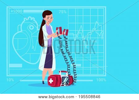 Female Doctor Hold Defibrillator Medical Clinics Worker Reanimation Hospital Flat Vector Illustration