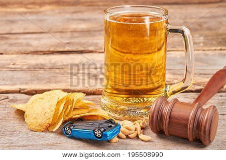 Justice for drunk driver. Hard punishment for alcohol drinking drivers.