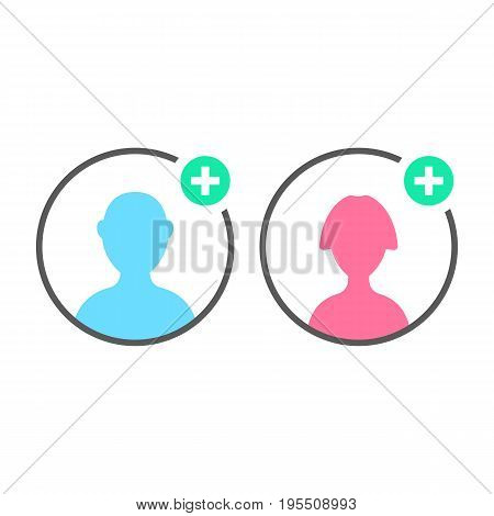 add contact with user icons. concept of ui, torso, character, teamwork, individuality, portrait, visual identity. isolated on white background. flat style trend modern logo design vector illustration