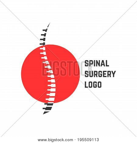 colored abstract spinal surgery logo. concept of vertebrae analysis, scoliosis, skeletal, hospital. isolated on white background. flat style trend modern brand logotype design vector illustration