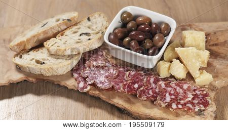italian antipasti appetizers from table, wide photo