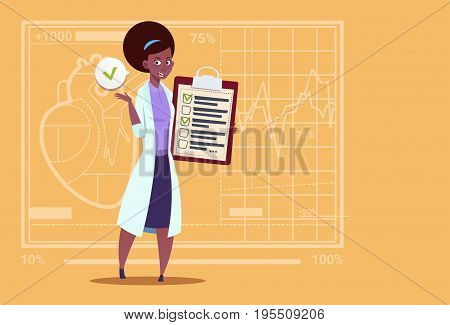 Female African American Doctor Holding Clipboard With Analysis Results And Diagnosis Medical Clinics Worker Hospital Flat Vector Illustration