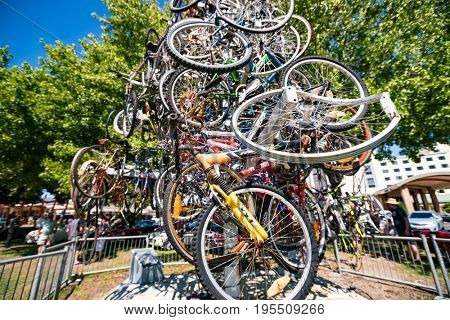 New Zealand - APRIL, 2016: Installation of old bicycles Auckland, New Zealand