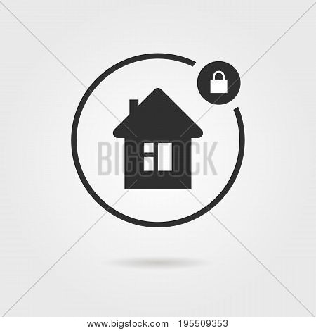 black locked house icon with shadow. concept of investment, keyhole, structure, privacy, secrecy, developer. isolated on gray background. flat style trend modern logotype design vector illustration