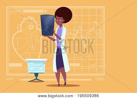 Female African American Doctor Examining Xray Medical Clinics Worker Hospital Surgery Flat Vector Illustration