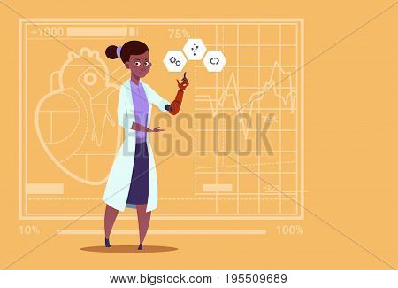 Female Doctor Working With Robotic Hand Artificial Limb Medical Clinics Worker African American Hospital Flat Vector Illustration