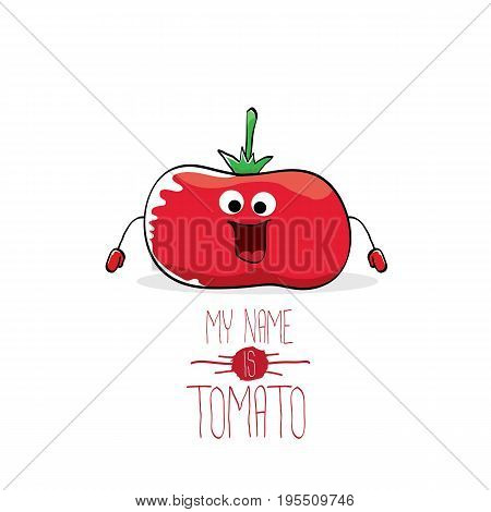 vector funny cartoon cute red tomato isolated on blue background. My name is tomato. vegetable funky character